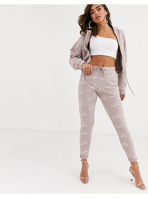 The Couture Club tapered motif jogger in pale pink
