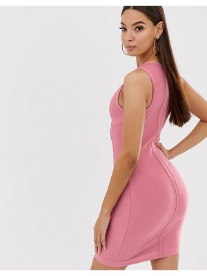 The Girlcode bandage dress with panel and bust cup detail in pink