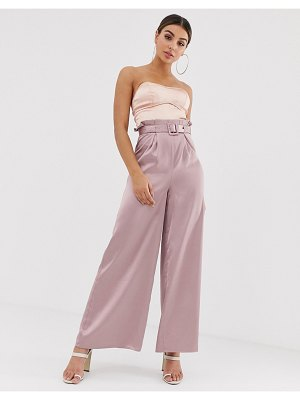 The Girlcode belt detail wide leg pants in blush