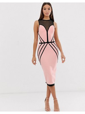 The Girlcode contrast bandage midi dress in pink and black