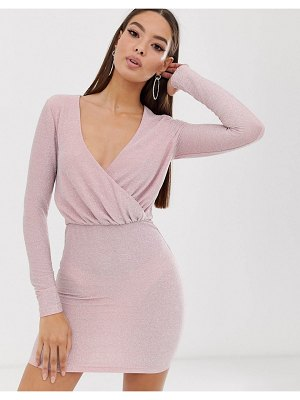 The Girlcode long sleeve drape glitter mini dress in blush