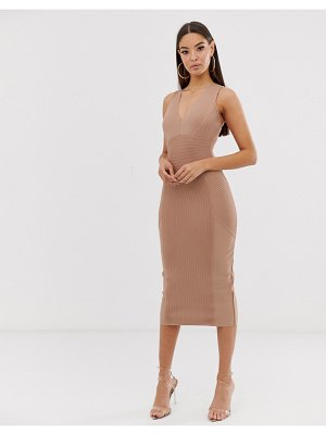 The Girlcode pleated bandage mini plunge dress in taupe