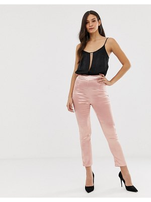 The Girlcode satin fitted pants in pink