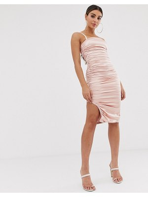 The Girlcode satin ruched midi dress in sand
