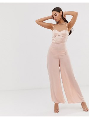 The Girlcode sheer satin wide leg jumpsuit in pink