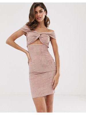The Girlcode suedette twist knot bardot dress in blush