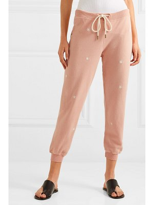 The Great the cropped embroidered slub cotton-jersey track pants