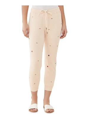 The Great the cropped sweatpants with tossed floral embroidery