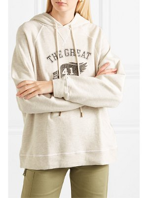 The Great the slouch printed cotton-blend jersey hoodie