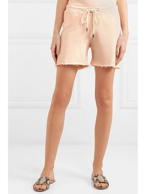 The Great the sweat frayed loopback cotton-jersey shorts