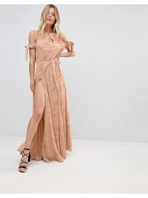 THE JETSET DIARIES sierra lace thigh split cold shoulder maxi dress-pink