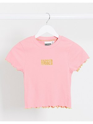 The Ragged Priest fitted crop t-shirt with contrast stitching and front logo-pink