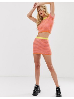 The Ragged Priest fluffy mini skirt in stripe two-piece-pink