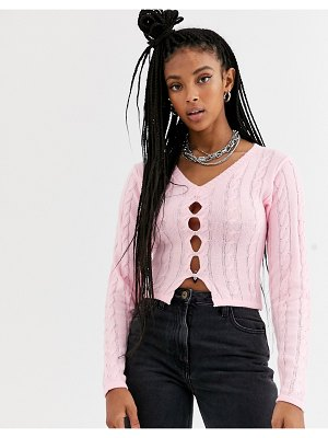 The Ragged Priest shrunken cardigan with button front in cable knit-pink