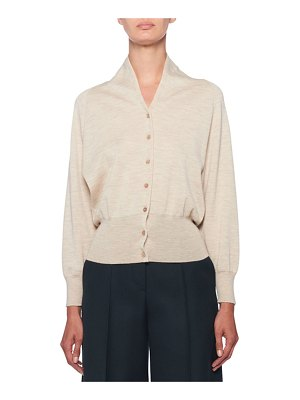 The Row Billi Cashmere Mock-Neck Button-Front Cardigan