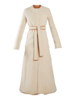 The Row Creyton collarless A-line shearling coat