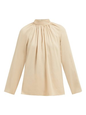 The Row ella gathered silk georgette blouse