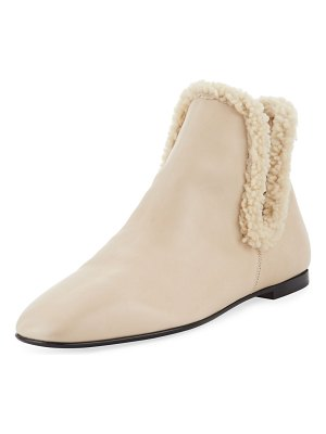 The Row Eros Flat Shearling-Trimmed Booties
