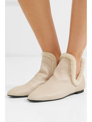 The Row eros shearling-trimmed leather ankle boots