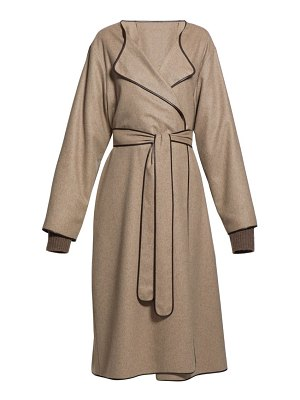 The Row helga belted leather-trim felt coat