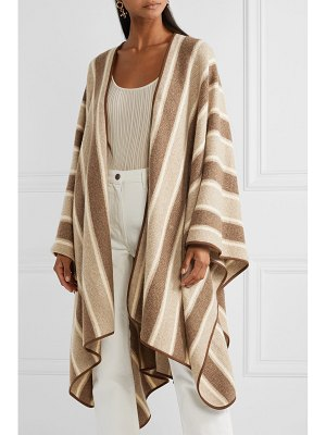 The Row merlyn suede-trimmed striped cashmere and silk-blend cape