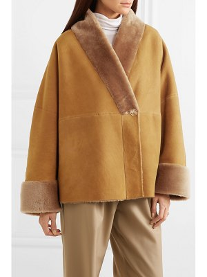 The Row pernia shearling-trimmed suede coat