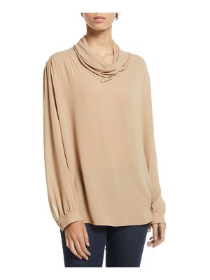 The Row Runa Cowl-Neck Long-Sleeve Silk Top