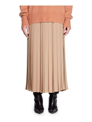 The Row Vanessa Long Pleated Silk Skirt