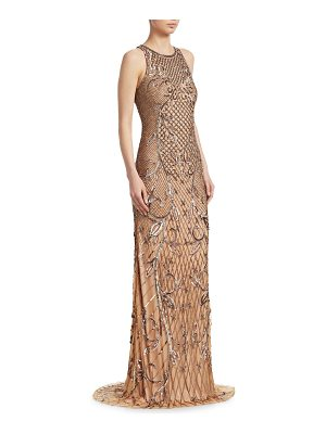 Theia beaded sleeveless gown