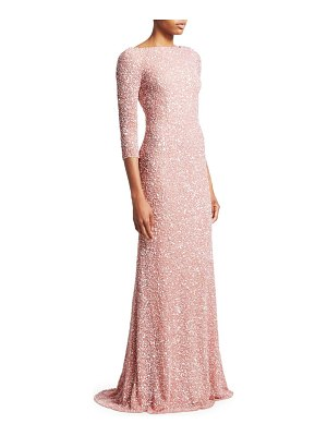 Theia boatneck sequin tulle gown