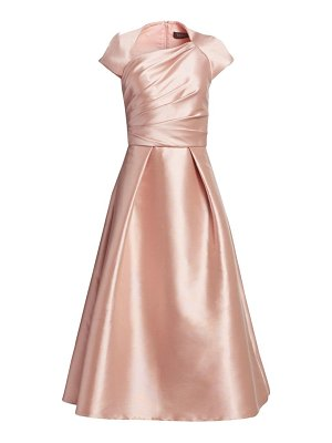 Theia draped-bodice tea-length dress