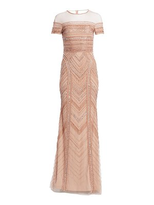 Theia embellished tulle mermaid gown