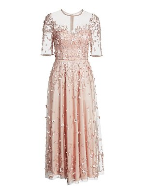 Theia floral appliqué illusion midi a-line dress