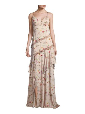 THEIA Floral Ruffle Gown