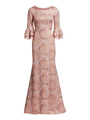 Theia metallic floral jacquard bell-sleeve trumpet gown
