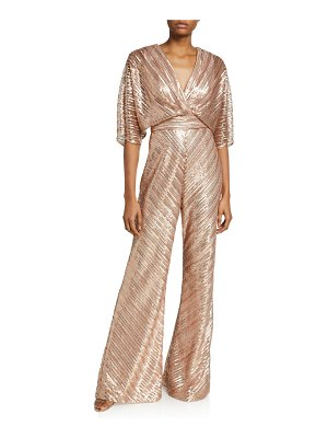 Theia Sequin Embroidered Tulle Kimono Jumpsuit