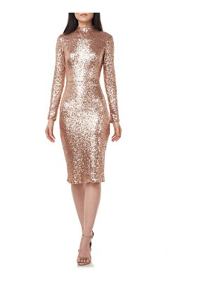 Theia sequin mock neck long sleeve cocktail dress