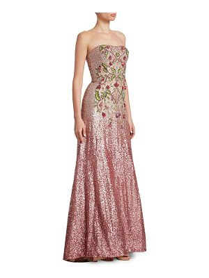 THEIA Strapless Ombre Ball Gown