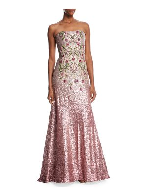 THEIA Strapless Ombré Sequin Gown W/ Beaded Bodice