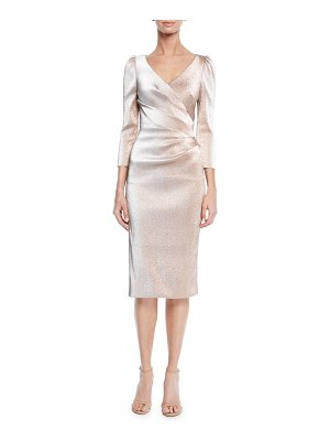 Theia V-Neck 3/4-Sleeve Stretch Lurex® Faux Wrap Cocktail Dress