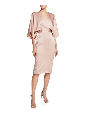 Theia V-Neck Kimono-Sleeve Satin Dress