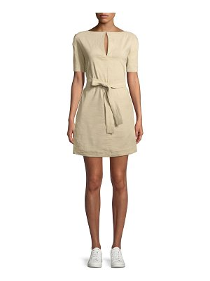 Theory Belted Crunch Wash Shift Dress w/ Self-Tie Waist