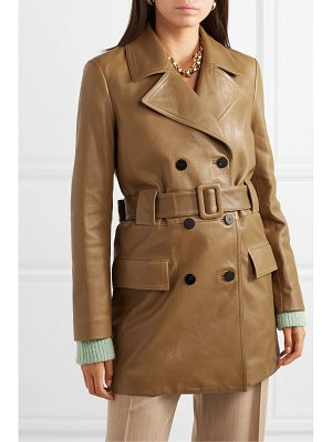 Theory belted double-breasted leather coat