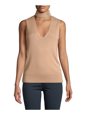 Theory Choker-Collar V-Neck Sleeveless Fine Silk/Cashmere Top