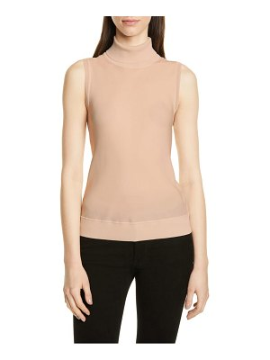 Theory mix media turtleneck sleeveless silk top