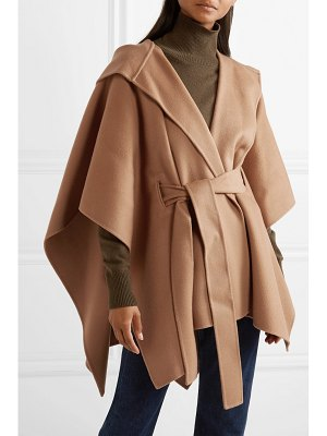 Theory new divide belted hooded wool and cashmere-blend poncho
