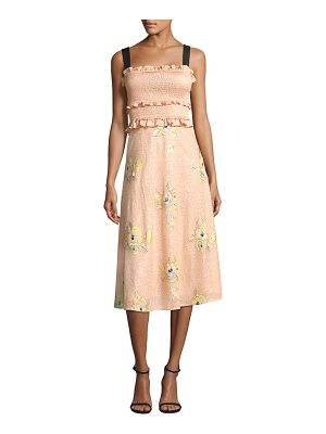 Three Floor smocked floral midi dress