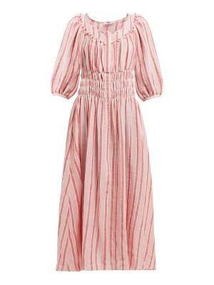 THREE GRACES LONDON arabella striped linen blend midi dress