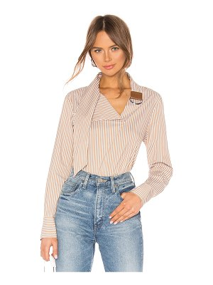 Tibi Asymmetric Tie Collar Top