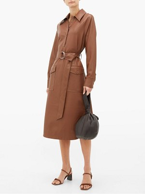 Tibi belted faux leather shirt dress